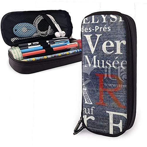 Astucci Paris Tower Cute Pen Pencil Case Leather Pouch Bag Pencil Case with Double Zipper Holder Box...