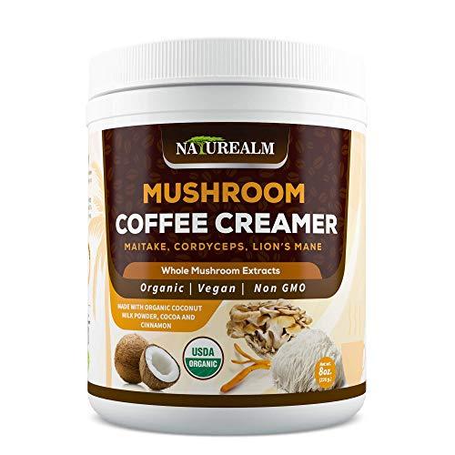 Naturealm Mushroom Coffee Creamer - Lion's Mane, Cordyceps, Maitake Extracts