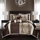 Nanshing Kath Collection Bedroom Comforter Set, Complete 7 Piece Set, Brown, Queen
