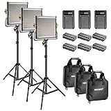 Neewer LED 480 luce video e supporto Kit con batteria e caricatore per Studio YouTube Video registrazione permanente telaio in metallo dimmerabile con supporto U 3200-5600K CRI 96+ (3 pacchetti)