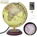 Leyona Illuminated LED World Globe Light, 16 Colors Vintage World Globe Lamp 9 Inch, Antique Globes of The World with Stand, Retro Light Up Globe of The World for Kids Old Desk World Globe Decor Light