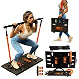 REX Full Body Workout Machines For Home Portable Home Gym With 4 Resistance Bands With Bar & Lewin Fitness Platform Plus Accessories - Total Body Gym for Work Outs at Home