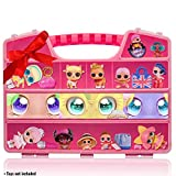 ASH BRAND Durable Figures Carrying CASE Storage Organizer   Fits Up to 50 Mini Toys Miniature Characters Or Tiny Bags & Baskets  Pink Toys Box with Compartments & Handle … (Secret Eyes)