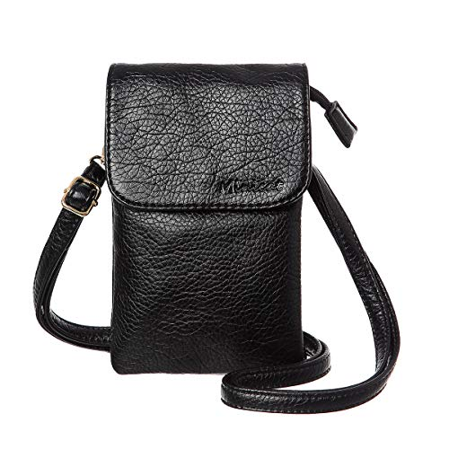 MINICAT Roomy Pockets Series Small Crossbody Bags Cell Phone Purse Wallet for Women(Black)