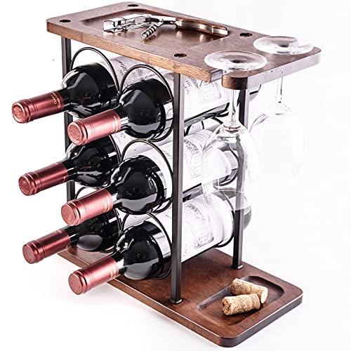 LINGLAN - Portabottiglie da 6 bottiglie da banco per bottiglie di vino, con 3 ripiani e 2 bicchieri di vino