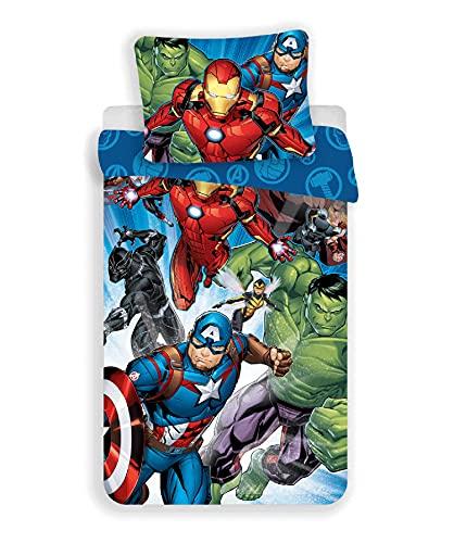 Marvel Avengers Juego de Cama Funda Nórdica de 140 x 200 cm y una Funda de Almohada de 70 x 90 cm