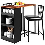 Best Choice Products 3-Piece Wooden Counter Height Dining Table Set for Kitchen, Dining Room w/Storage - Espresso