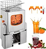 VEVOR 110V Electric Orange Juicer Commercial Squeezer Machine Lemon Automatic Auto Feed Supermarkets 22-30 Per Minute 304 Tank+Stainless Steel Cover Perfect for Drink Bar and Home
