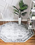 Unique Loom Sofia Collection Traditional Vintage Gray/Ivory Octagonal Rug (4' 0 x 4' 0)