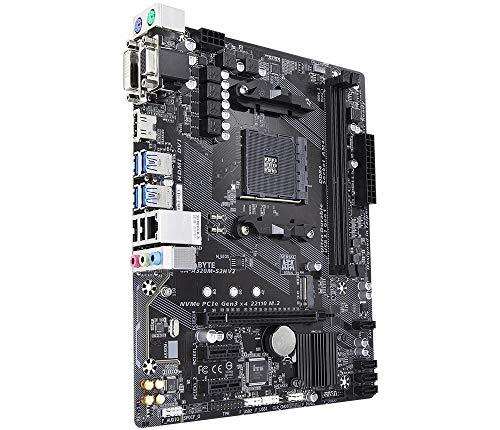 Gigabyte GA-A320M-S2H V2 (Rev. 1.1) Socket AM4 AMD B350 Micro ATX - Placa Base (DDR4-SDRAM, DIMM, 2133,2400,2667,2933,3200 MHz, Dual, 32 GB, AMD)