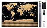 ARPELIFE Carte du Monde à gratter - Mappemonde Murale (82 x 59 cm) – Scratch World Map +...