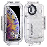 HAWEEL for iPhone Xs Max Underwater Housing Professional [40m/130ft] Diving Case for Diving Surfing Swimming Snorkeling Photo Video with Lanyard (iPhone Xs Max, Transparent)