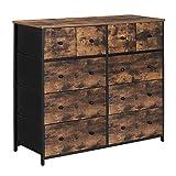 SONGMICS Industrial Wide Dresser, Rustic 10-Drawer Dresser Storage...