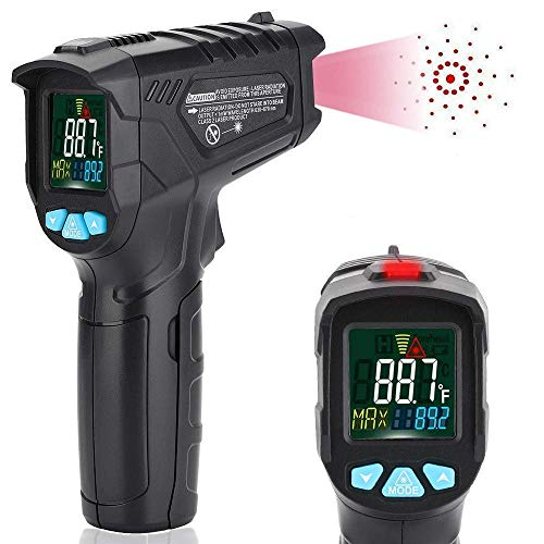Infrared Thermometer Non-Contact Digital Laser IR Temperature Gun for Kitchen Meat Food Cooking BBQ Automotive Industrial Thermostat with Flashlight HD Backlight LCD Temp Display