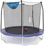Skywalker Trampolines 8-Foot Jump N' Dunk Trampoline with Safety Enclosure and Basketball Hoop,...