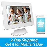 PhotoSpring (16GB) 10 inch WiFi Cloud Digital Picture Frame - Battery, Touch Screen, Plays Video and Photo Slideshows, HD IPS Display, iPhone & Android app (White - 15,000 Photos)