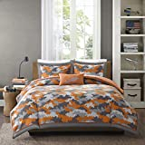 Mizone Lance 4 Piece Comforter Set, Orange, Full/Queen