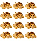 Wildlife Tree 12 Pack African Lion Mini 4 Inch Small Stuffed Animals, Bulk Bundle Zoo Animal Toys, Jungle Safari Party Favors for Kids