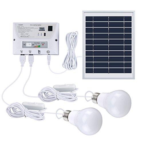 suaoki ソーラーシステム ソーラーパネルセット USB出力4ポート LED電球2個付属 ポータブル スマホなどへの充電 屋外照明 テント 車中泊 停電 災害