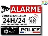 Lot de 8 Autocollants Dissuasifs « Alarme Vidéo Surveillance » Anti...