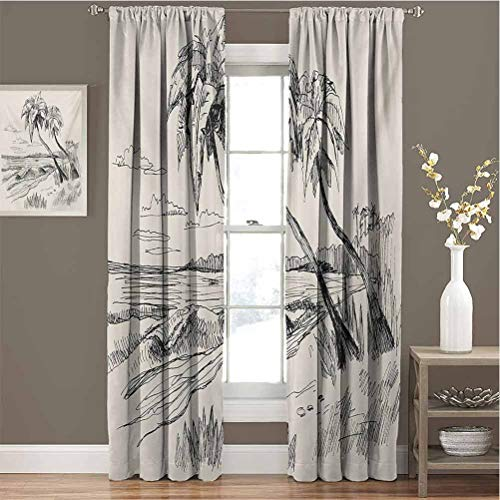Palm Tree All Season Insulation Sketch of Coconut Palm Tree on Sandy Tropical Beach Exotic Oceanside View Print Noise Reduction Curtain Panel Living Room W84 x L96 Inch Cream Black