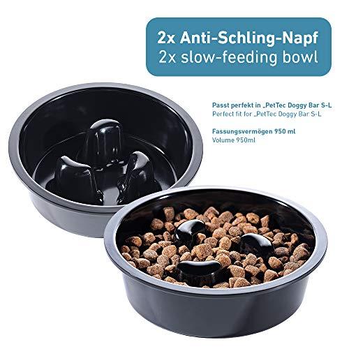 PetTec Melamine Slow-Feeding Bowl Set in Black for...