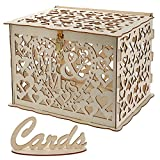 YOUEON Wood Wedding Card Box with Lock and Cards Sign, Rustic Wedding Decorations DIY Envelop Gift Box for Country Wedding Reception, Bridal Shower, Birthdays, Baby Showers, Brown, Hollow Design