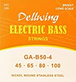 Dellwing - Cordes Pour Guitare Basse - Première Qualité - Lot De 4 Cordes – Nickel Wound – Top Tone – Medium 45-100 Pour Guitare Basse
