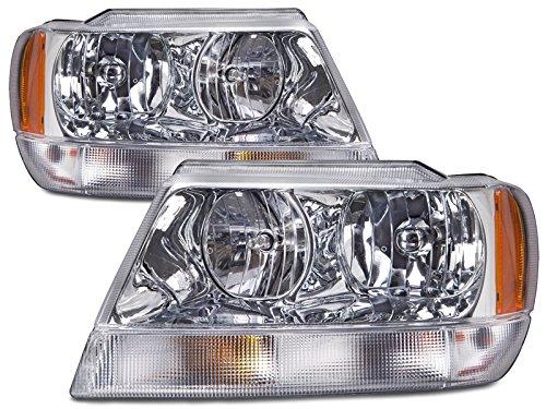 HEADLIGHTSDEPOT Headlights Chrome Halogen Set w/Xenon Bulbs Compatible with Jeep Grand Cherokee 1999-2004