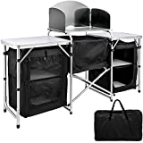 VBENLEM Outdoor Camp Kitchen 2-Tier, Camping Kitchen Table 2 Side Tables with 3 Zippered Bag, Portable Camping Cook Table for Outdoor Activities Black