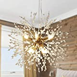 Modern Chandelier Crystal, Gold Crystal Dandelion Light Firework Chandeliers Bedroom 8 Light Brass Sputnik Pendant Lighting Fixtures for Living Room Dining Room Restaurant