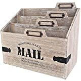 25DOL - Mail Organizer Desktop Mail Holder - Wooden Desk Organizer, File Holder and Mail Sorter -...