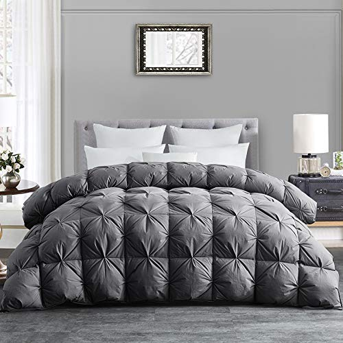 HOMBYS All-Season Goose Down Comforter King Size Duvet Insert Feather Hypo-allergenic Grey Pinch Pleat 100% Cotton Cover Down Proof with Corner Tabs Premium Baffle Box Design-Gray Down Comforter