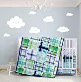 Boy Crib Set Green Plaid, 3 Pieces Nursery Bedding Sets for Baby, Rustic Checks Design in Blue, Navy, Teal, Mint and Grey Color
