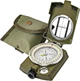Lensatic Military Compass for Hiking - Tritium Compass Military Grade style Camping Backpacking - Tactical Army Green Compass Survival Navigation - Hiking Waterproof Sighting Compass with Pouch