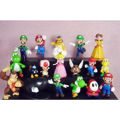 Set di 18 personaggi di Super Mario Bros (altezza 3-6 cm)