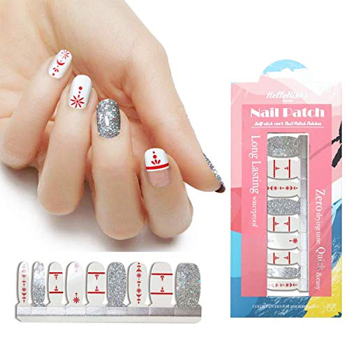 HIGH'S 18pcs Nail Polish Strips Art Polish Stickers Self-Adhesive Nail Decal Wraps for Women Girls Manicure Nail Art Designs, Sliver Christmas