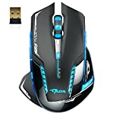 Mouse ,ZYooh 2500 DPI Blue LED 2.4GHz Wireless Optical Gaming Game Mouse E-3lue 6D Mazer II Black