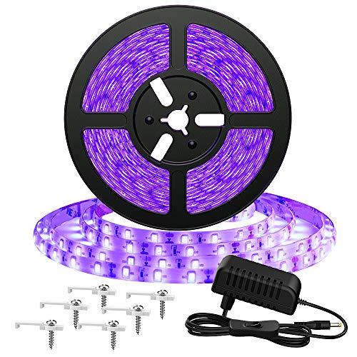 Onforu 5M Striscia UV, LED UV 2835 300 Unit, 12V Striscia LED UV, UV Strip con Trasformatore, LED...