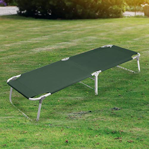 MagshionHunter Green Camping Folding Military Cot Outdoor + Free Storage Bag