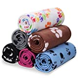 Comsmart Pet Blanket Dog Cat Soft Fleece Blankets Sleep Mat Pad Bed Cover with Paw Print for Kitten Puppy and Other Small Animals, 6 Pack of 24x28 Inches