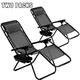Vnewone Zero Gravity Patio Folding Anti Reclining Lounge Deck Foldable Yard with Pillow and Cup Holder, Black