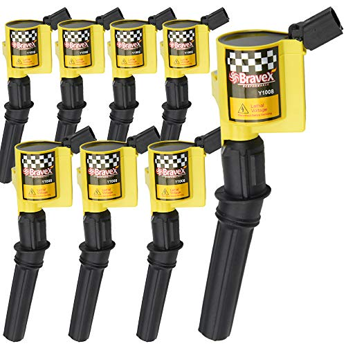 High Performance Ignition Coil 8 Pack -Upgrade 15% More Energy For Ford F-150 F-250 F-350 4.6L 5.4L V8 CROWN VICTORIA EXPEDITION MUSTANG LINCOLN MERCURY Compatible & DG508 DG457 DG472 DG491 (YELLOW)