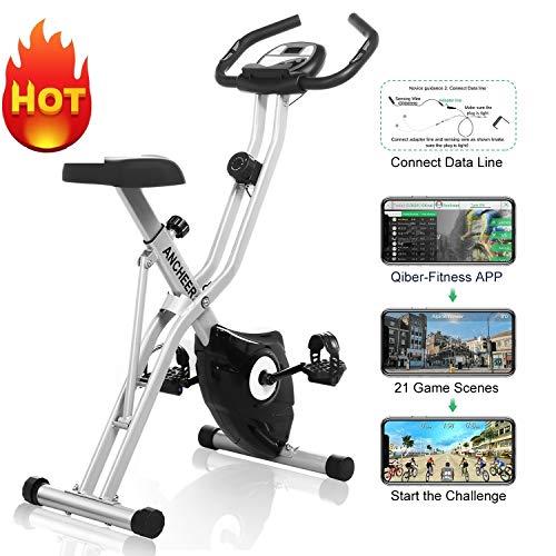 ANCHEER F-Bike Advanced Heimtrainer, Klappbar Hometrainer mit APP LCD-Display, Fitness Fahrrad mit 10 Widerstandsstufen, Handpulssensoren für Zuhause Büro Training
