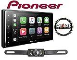 Pioneer MVH-1400NEX 6.2' Digital Multimedia Video Receiver w/Apple CarPlay & CrimeStopper SV51301IR License Plate Style Backup Camera & a SOTS Air Freshener