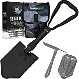 Rhino USA Folding Survival Shovel w/Pick - Heavy Duty Carbon Steel Military Style Entrenching Tool for Off Road, Camping, Gardening, Beach, Digging Dirt, Sand, Mud & Snow.