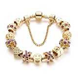 Choker Gold Charm Bracelets Girls Heart Beads Smile Tone Snake Chain Rhinestone Bangles