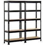 Yaheetech 2 Pack Shelving Units and Storage Shelves Heavy Duty Garage Shelving Shelves Utility Shelves Adjustable Height, 59 inch