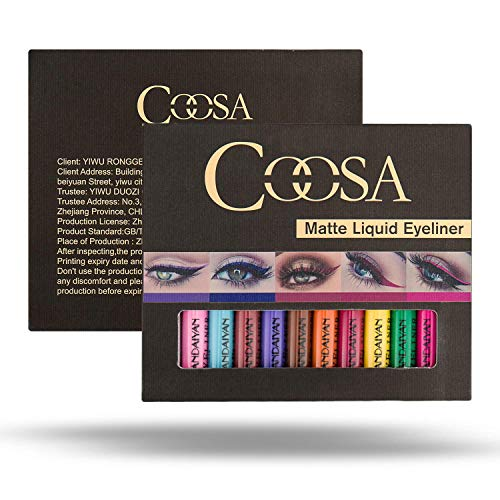 Rechoo 12 Colours Matte Glitter Liquid Eyeliner Waterproof High Precision Long Lasting Eyeliners Set for Party Cosplay (12 Pcs)