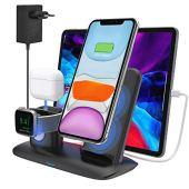 Caricatore Wireless Caricabatterie Senza Fili Qi Supporto 3 in 1 Stazione di Ricarica Docking Station per iPhone 11/11 Pro Max/X/XS Max/8 Apple Watch 5/4/3/2/1 Airpods Pro/2/1 (Include adattatore)